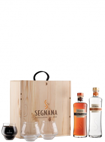 Grappa Segnana Bis + Bicchieri go go + candela